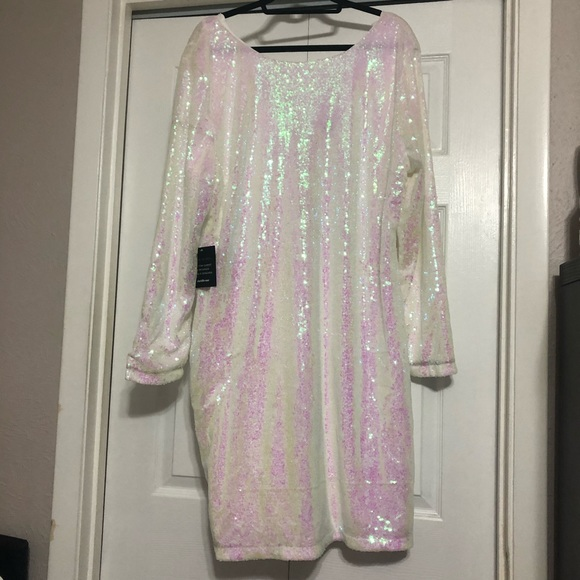 NWT 3X Charlotte Russe White Sequin Bodycon Dress